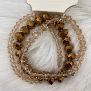 4/$20 A New Day 3pk Brown Bead Stretch Bracelets
